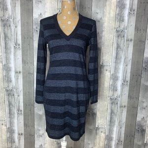 Michael Kors Blue Stripes V Neck Sweater Dress S